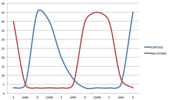 Grafiek melatonine cortisol